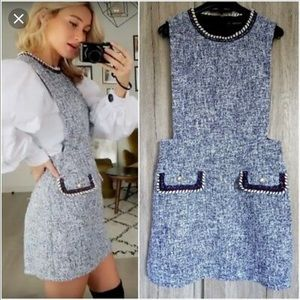 Zara pinafore tweed flecked dress mini grey work